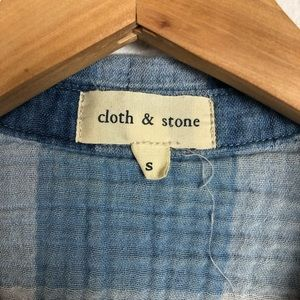 cloth & stone Dresses - Cloth & Stone blue checked plaid sleeveless dress